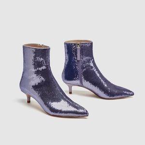 Zara mauve purple sequin high heel ankle boots